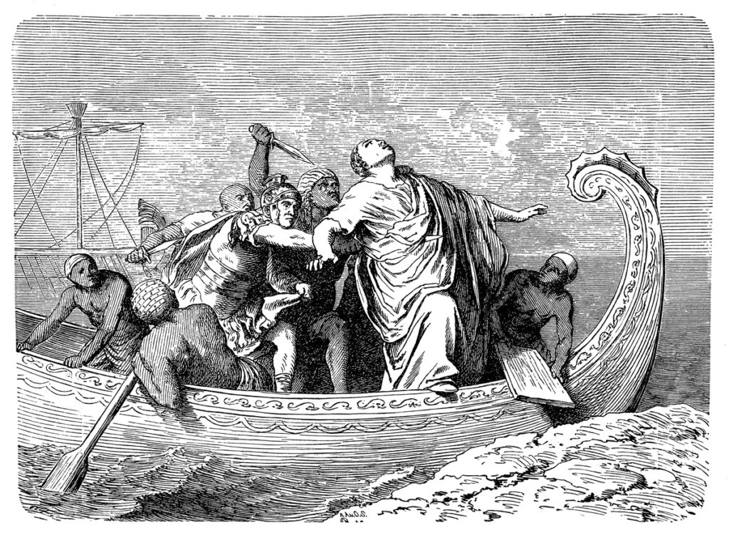 Ilustración, asesinato de Pompeyo Magno.