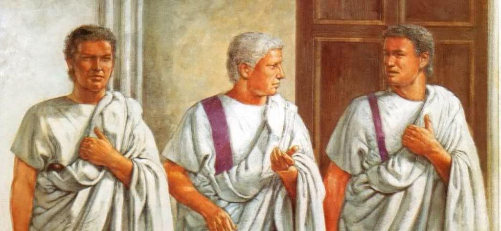 Ilustración de Marco Aurelio y su guardaespaldas.