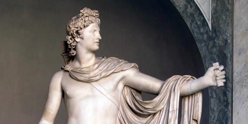 Detalle de la estatua de Apolo.