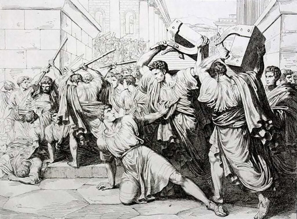El final de Tiberio Sempronio Graco a manos de sus detractores.
